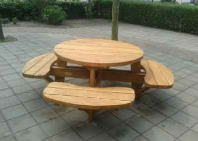 Ronde eiken picknickbank